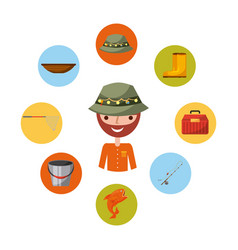 icon set fishing enjoy it vector image