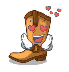 in love old cowboy boots in shape character vector image