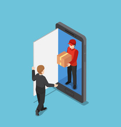 isometric delivery man come out from smartphone vector image