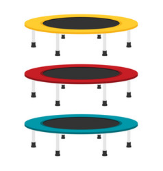 Jumping trampoline flat set vector