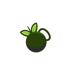 kettle bell and leaf logo inspiration isolated on vector image