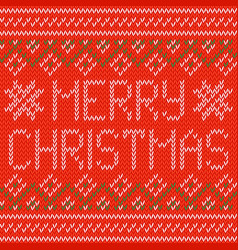 Knitted christmas background christmas greeting vector