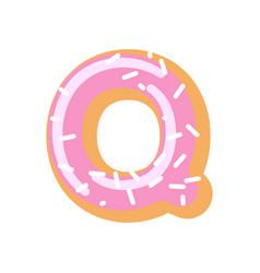 letter q donut font doughnut alphabet sweet vector image
