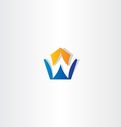Letter w pentagon icon logo vector