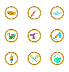life of fisherman icon set cartoon style vector image