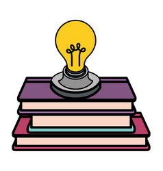 Light bulb with books isolated icon vector
