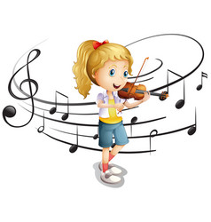 little girl plays violin vector image