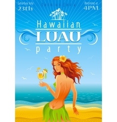 Luau party poster vector