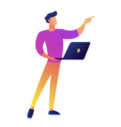 manager standing with laptop and pointing with vector image