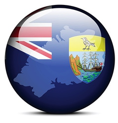 Map on flag button of Saint Helena - British vector image