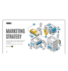 marketing strategy isometric web banner planning vector image