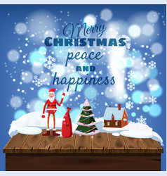 merry christmas card shiny falling snowflakes and vector image