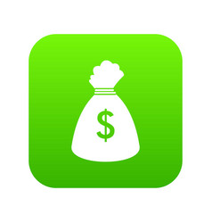 Money bag icon digital green vector
