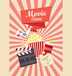 Movie time poster design vector