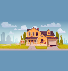 old broken suburban house with garage for sale vector image
