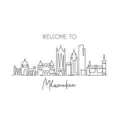 one single line drawing milwaukee city skyline vector image