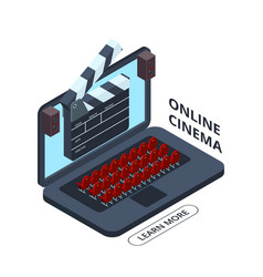 online cinema isometric icon home cinema vector image