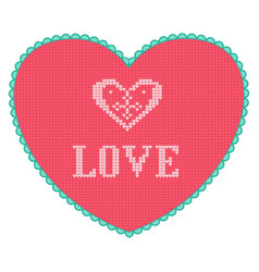 pink knitted heart with love text greeting card vector image