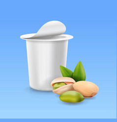 Pistachio nuts and yogurt package box vector