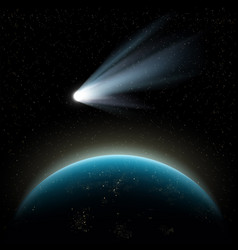 planet earth and comet vector image