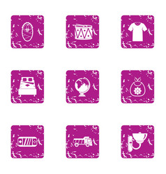 Plaything for infantile icons set grunge style vector