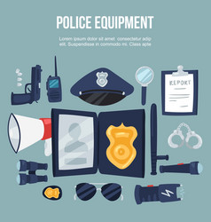 police security equipment set vector image