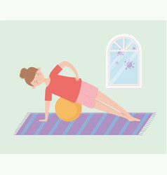 Quarantine stay at home woman practicing fitball vector