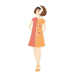 Retro woman in a dress vector