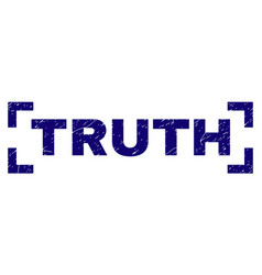 Scratched textured truth stamp seal inside corners vector