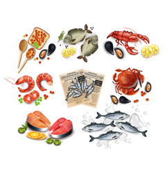 Sea food set collection realistic salmon vector