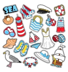 Sea Vacation Woman Fashion Stickers Patches vector