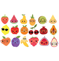 set cartoon fruits with glasses collection vector image
