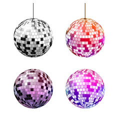 set disco balls with light rays isolated on vector image