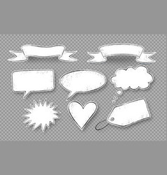 set grunge hand drawn speech bubbles vector image