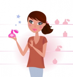 sexy woman in perfume shop vector image