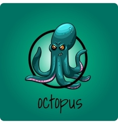 Single octopus on a green background vector image