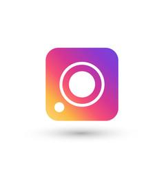 social media camera color icon white background vector image