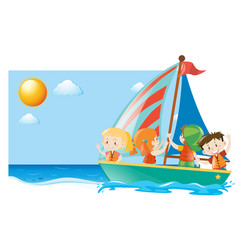 Summer scene with kids sailing vector
