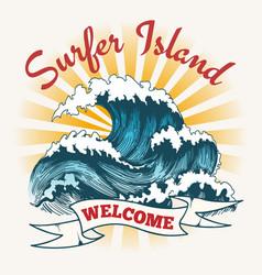 surf wave vintage poster vector image