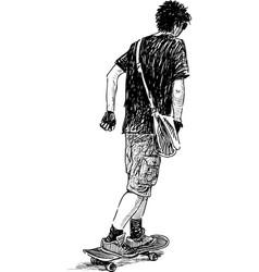 Teen on skateboard vector