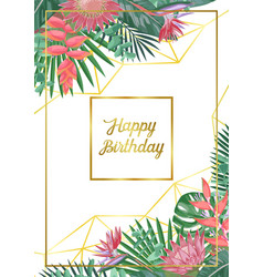 Tropical happy birthday card vector