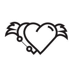 Two hearts wings pen tool design vector