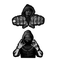 Two rappers on white vector