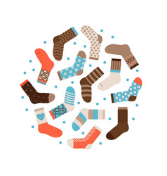warm winter socks round concept isolated vector image