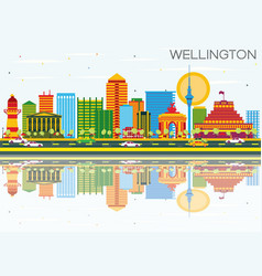 Wellington skyline with color buildings blue sky vector