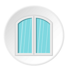 White window arched frame icon circle vector