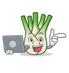 With laptop fennel character cartoon style vector