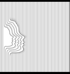 woman face white lines vector image