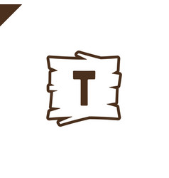 Wooden alphabet or font blocks with letter t in vector