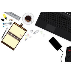 Workplace with coffee cup notebook smartphone vector